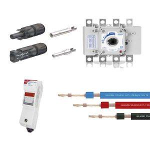 อุปกรณ์ไฟฟ้าสำหรับงานระบบโซล่าเซล สายไฟฟ้าโซล่าเซล ฟิวส์ดีซี เบรกเกอร์ดีซี ขั้วต่อแผงโซล่าเซล