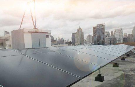 ระบบ Solarcell แบบ Ongrid ใช้แผงโซล่าเซลแบบ Hybrid กริดอินเวอร์เตอร์ SMA 9K ติดตั้งบนหลังคาอาคาร