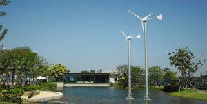 ติดตั้งกังหันลมผลิตไฟฟ้า 1กิโลวัตต์ แบบชาร์จแบตเตอรี่ จำนวน 2 ต้น